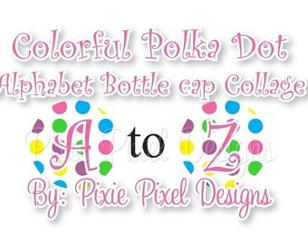 INSTANT DOWNLOAD - Colorful Polka dot Alphabet Collage 1 inch Bottle Cap Disc-Its Scrapbooking Boutique Digital Collage Art Sheet