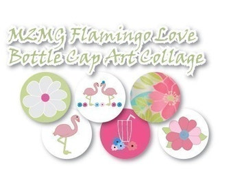 M2MG Flamingo Love Collage 3/4 inch or 1 inch Bottle Cap Disc-Its Scrapbooking Boutique Digital Collage Art Sheet