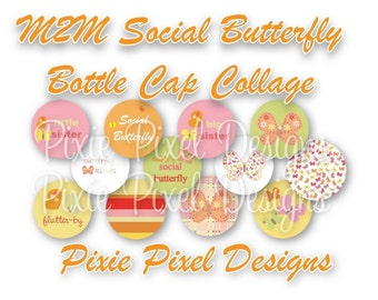Instant Download - Social Butterfly M2MG Bottle Cap Collage Sheet