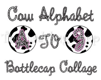 Instant Download - Cow Rodeo Alphabet Letters A to Z Collage Bottle Cap Disc-Its Scrapbooking Boutique Digital Collage Art Sheet