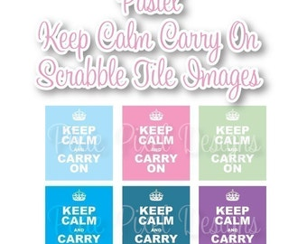 Keep Calm Carry on Pastel Scrabble Tile Digital Collage Art Sheet