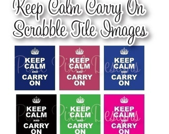 Keep Calm Carry on Scrabble Tile Digital Collage Art Sheet