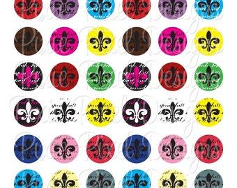Fleur De Lis Bottlecap Images Bottle Cap Disc-Its Scrapbooking Boutique Digital Collage Art Sheet