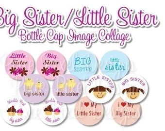 INSTANT DOWNLOAD - Big Sister/Little Sister Bottlecap Images Bottle Cap Disc-Its Scrapbooking Boutique Digital Collage Art Sheet