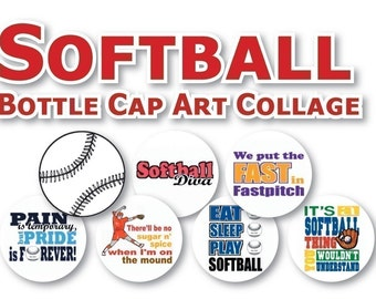 INSTANT DOWNLOAD - Softball Collage 1 inch Bottle Cap Disc-Its Scrapbooking Boutique Digital Collage Art Sheet
