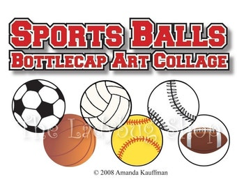 INSTANT DOWNLOAD - Sports Balls 1 inch Bottle Cap Disc-Its Scrapbooking Boutique Digital Collage Art Sheet