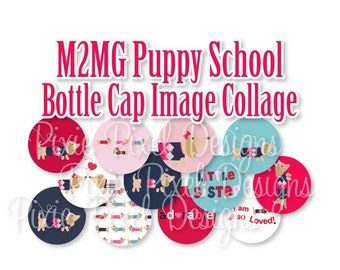 INSTANT DOWNLOAD - M2MG Puppy School Collage 3/4 inch or 1 inch Bottle Cap Disc-Its Scrapbooking Boutique Digital Collage Art Sheet