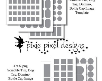 INSTANT DOWNLOAD - Templates for creating Bottle Caps, Scrabble, dog tag and domino images. Gimp, Photoshop and PSP compatible