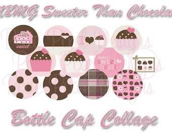 INSTANT DOWNLOAD - M2MG Sweeter than Chocolate 1 inch Bottle Cap Disc-Its Scrapbooking Boutique Digital Collage Art Sheet
