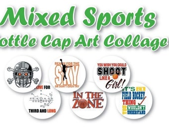 Mixed Sports Collage s 3/4 inch or 1 inch  Bottle Cap Disc-Its Scrapbooking Boutique Digital Collage Art Sheet