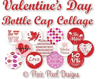 INSTANT DOWNLOAD - Valentine Bottlecap Images Bottle Cap Disc-Its Scrapbooking Boutique Digital Collage Art Sheet