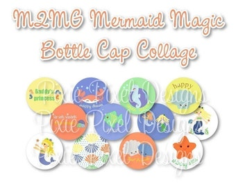 INSTANT DOWNLOAD - M2MG Mermaid Magic Bottlecap Images Bottle Cap Disc-Its Scrapbooking Boutique Digital Collage Art Sheet