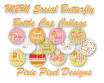 Social Butterfly M2MG Bottle Cap Collage Sheet