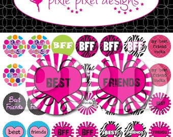 Instant Download - Best Friends Bottlecap Images Bottle Cap Disc-Its Scrapbooking Boutique Digital Collage Art Sheet