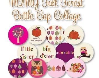 M2MG Fall Forest Bottlecap Images Bottle Cap Disc-Its Scrapbooking Boutique Digital Collage Art Sheet