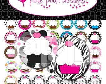 INSTANT DOWNLOAD - Cupcakes Bottlecap Images Bottle Cap Disc-Its Scrapbooking Boutique Digital Collage Art Sheet