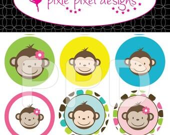 INSTANT DOWNLOAD - M2M Mod Monkey's Bottlecap Images Bottle Cap Disc-Its Scrapbooking Boutique Digital Collage Art Sheet