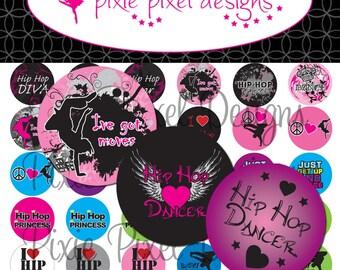 INSTANT DOWNLOAD - Hip Hop Dance Bottlecap Images Bottle Cap Disc-Its Scrapbooking Boutique Digital Collage Art Sheet