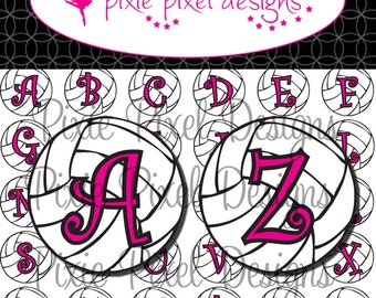 INSTANT DOWNLOAD - Volleyball Alphabet Bottlecap Images Bottle Cap Disc-Its Scrapbooking Boutique Digital Collage Art Sheet