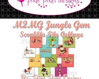 INSTANT DOWNLOAD - M2MG Jungle Gem Scrabble Tile Collage Sheet