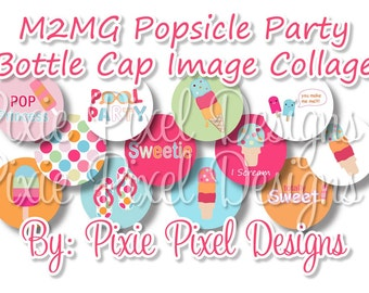 INSTANT DOWNLOAD - M2MG Popsicle Party Collage 3/4 inch or 1 inch Bottle Cap Disc-Its Scrapbooking Boutique Digital Collage Art Sheet