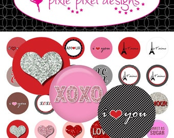 INSTANT DOWNLOAD - Red and White Valentine Bottlecap Images Bottle Cap Disc-Its Scrapbooking Boutique Digital Collage Art Sheet