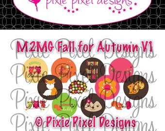 M2MG Fall for Autumn V1 Collage 3/4 inch or 1 inch Bottle Cap Disc-Its Scrapbooking Boutique Digital Collage Art Sheet
