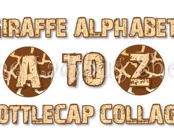 Instant Download - Giraffe Alphabet Letters A to Z Collage Bottle Cap Disc-Its Scrapbooking Boutique Digital Collage Art Sheet