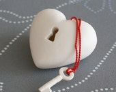 The key to my heart - unique porcelain Heart-ART