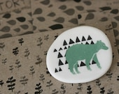 Forest Bear - Sage - Porcelain Brooch