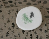 Moths - black and sage -  Porcelain Brooch