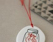 Anatomical heart in jar - porcelain pendant