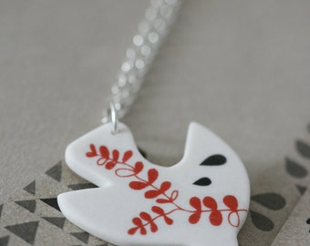 Porcelain and sterling silver necklace - free bird
