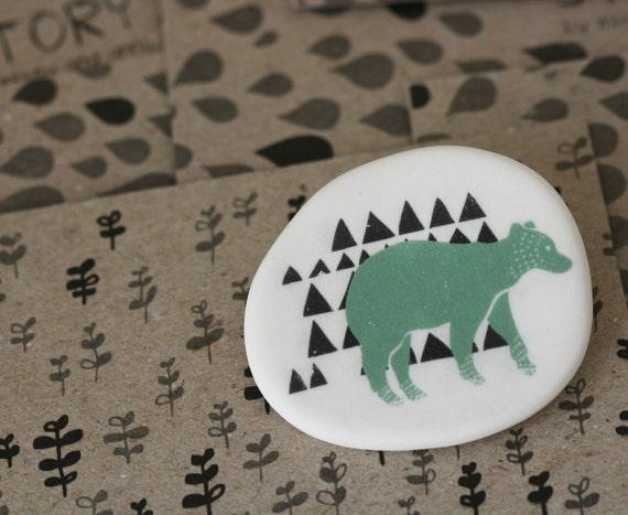 Forest Bear - Sage - Porcelain Brooch