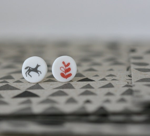 A Horse and a Sprout - Porcelain Earrings