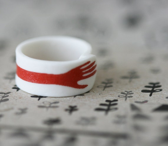 RESERVED - Hand - Red - Porcelain Ring