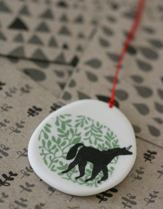Unicorn - porcelain pendant