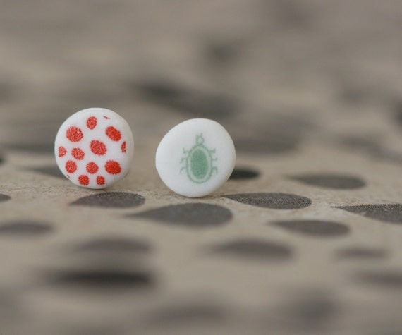 Bug and spots - Porcelain Earrings