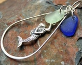 Mermaid, Sea Glass and Sterling Silver Pendant