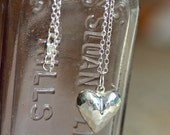 Sterling Silver Necklace, Puffed Hammered Heart