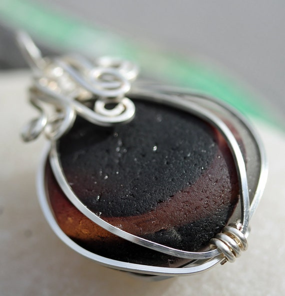 Multi Sea Glass  Beach Glass Pendant, Wire Wrapped, Sea glass jewelry, beach gift