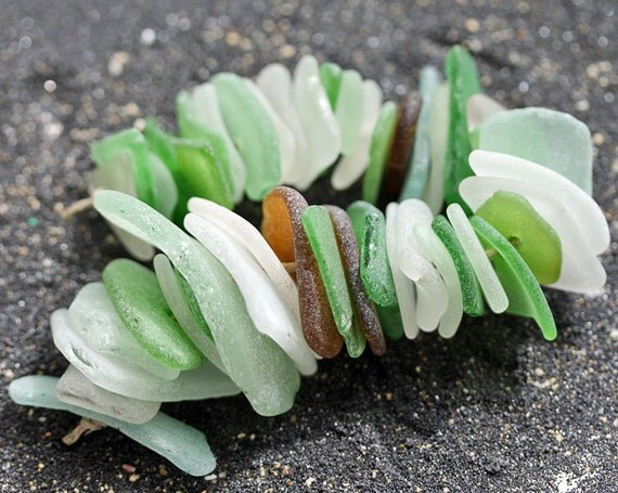 Drilled Sea Glass, 45 pcs for crafts