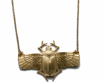 Egyptian Scarab Beetle Winged Necklace