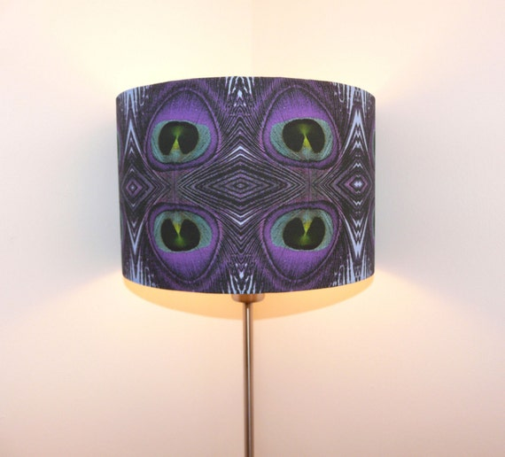 Purple Feather Print Burlesque Style Lampshade
