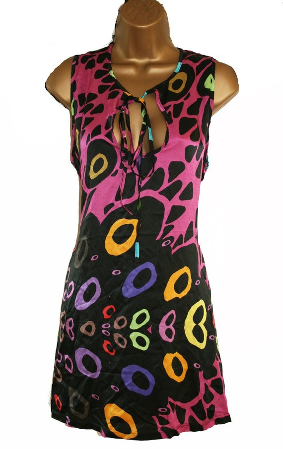 Vibrant Printed Silk Kaftan Cover Up Dress