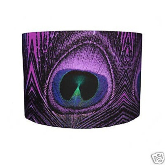 Purple Peacock Feather Print Lampshade
