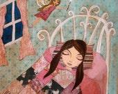 Children's Decor - Whimsical Mixed Media Art, Folk Art , Giclee Art Print Size 8 x 10 by HRushton