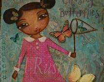 Kids Wall Art- Girl Chasing Butterflies- Mixed Media Art- African American Art -Print Size 8 x 10 by HRushton