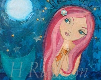 Mermaid Art- Children's Art- Mermaid Decor- Mermaid Wall Art- Large Art Print Size 11x14 or 16x20