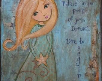 Children Decor- Inspirational Quote-  Folk Art Print-  by HRushton- 8 x 10 or 5x7